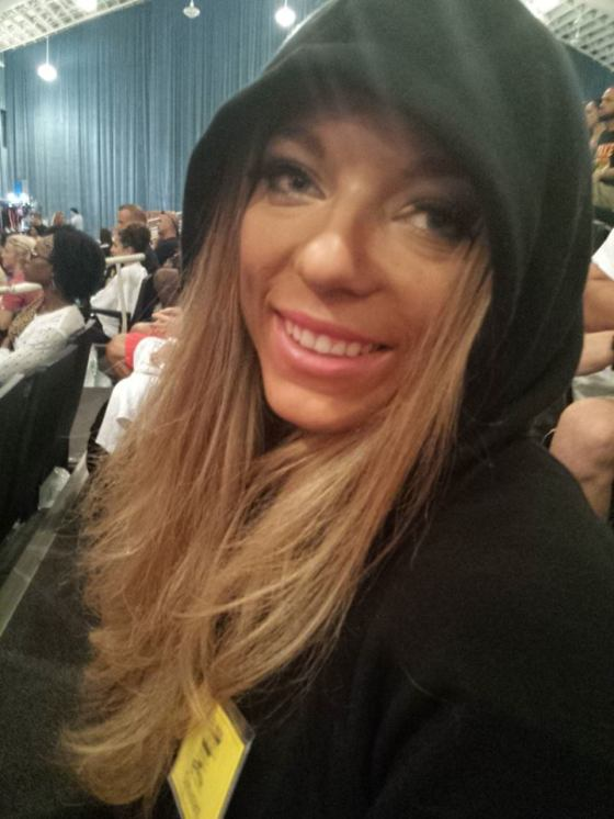 There is a lot of waiting at a bodybuilding show. I tried to keep my spirits up and my fake eyelashes on.
